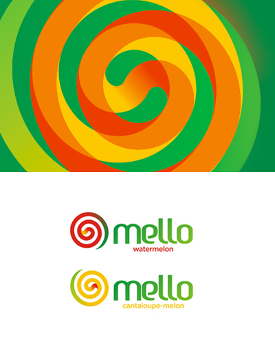 mello, watermelon, cantaloupe-melon juice, logo design by alex tass