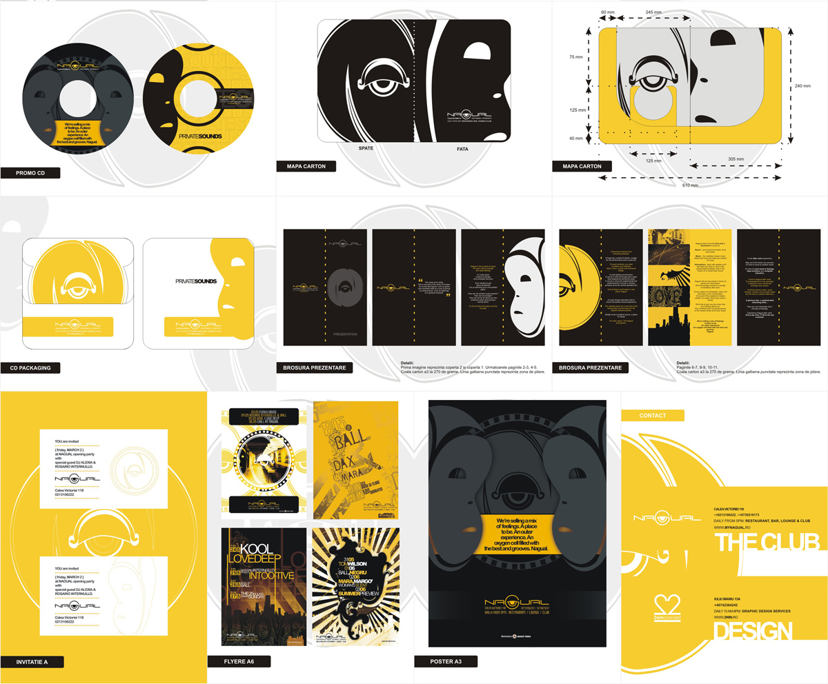 Nagual, club, bar, lounge, identity design, stationery design, brand manual design by Alex Tass