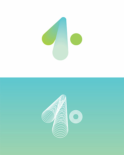 one, 1, dot, ., experimental, concept, creative, blue, green, line, stream, sale, for sale, logo design by Alex Tass