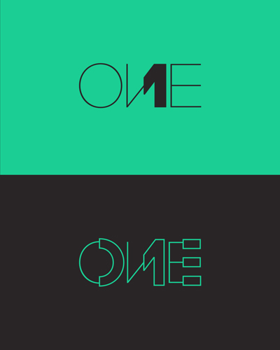 one, 1, number one, number 1, experimental concept, typographic logo, word mark, logo design for sale