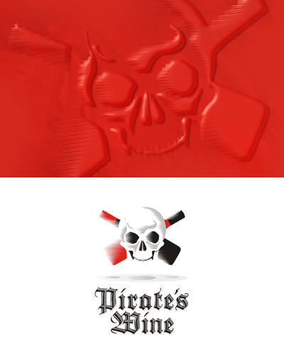 Pirate's wine, experimental design work, skull, wine, wax seal, logo design for sale