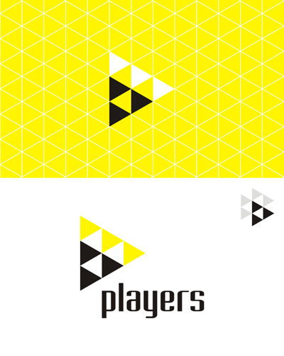 players, triangles, geometric, abstract, logo design by Alex Tass