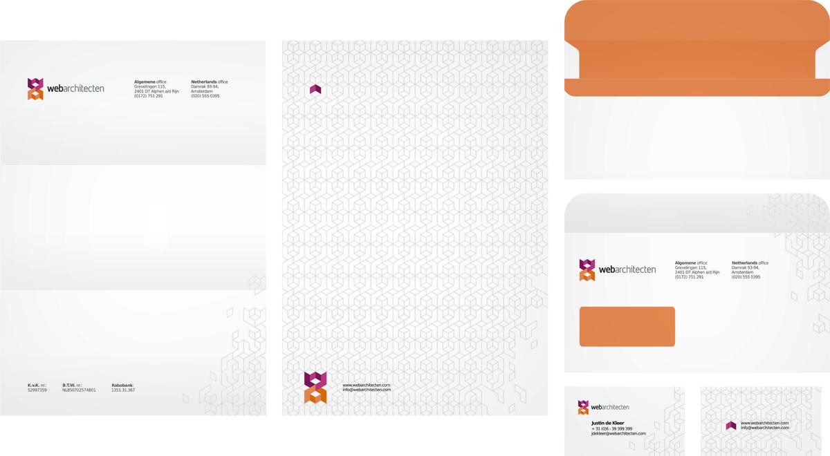 Web Architecten, web design studio agency, logo design, stationery design, letterhead design, business cards design, envelope design, by Alex Tass