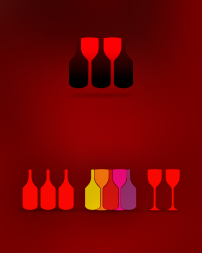 wine, wines, vineyard, wine yard, wine bottle, wine glass, wine bottles, wine glasses, bottles, glasses, symbol, icon, logo design by Alex Tass