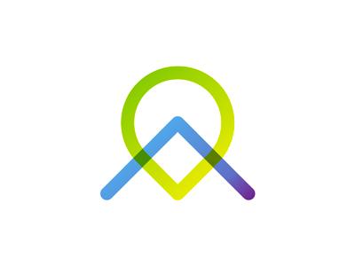 A letter map pin pointer logo design symbol icon