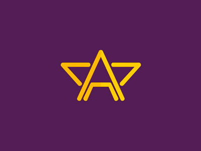 A star purple gold letter mark logo design symbol