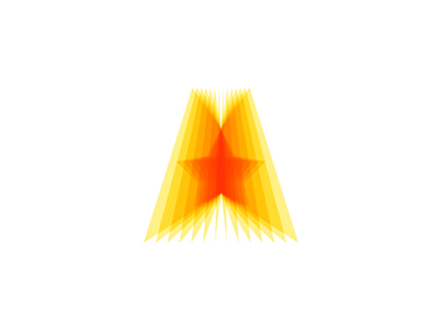 A star sun rays layers letter mark icon logo design symbol