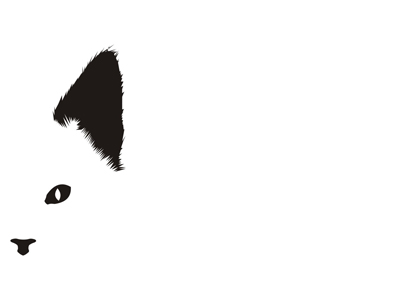 Cat hiding logo design symbol