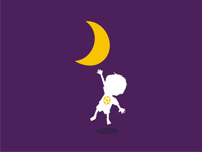 Child reaching out dreams moon logo design symbol icon