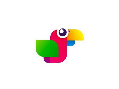 Colorful parrot logo design symbol icon