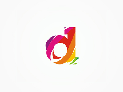 D colorful slices letter mark icon logo design symbol