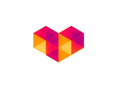 Digital love geometric heart logo design symbol icon