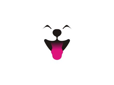 Dog happy puppy tongue logo design symbol icon