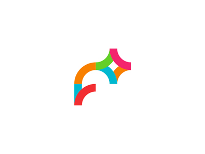 F + colorful letter mark icon logo design symbol