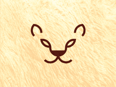 Feline lion puma tiger cub logo design symbol
