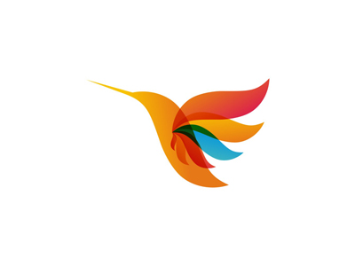 Hummingbird colorful bird wings logo design symbol icon