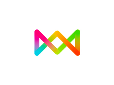 K double monogram colorful letter mark icon logo design symbol