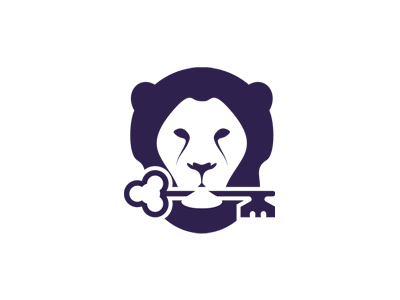 Lion holding key real estate purple logo design symbol icon