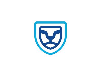 Lion sun glasses shield security blue logo design symbol icon