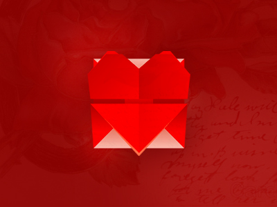 Love mail letters symbol app icon folded origami logo design symbol icon