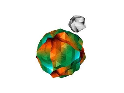 Low poly planet logo design symbol icon