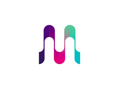 M U sound waves monogram letter mark icon logo design symbol