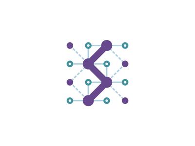 S synapse system grid letter mark icon logo design symbol