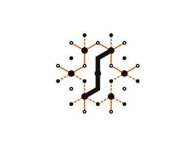 S system dots connections synapses letter mark icon logo design symbol