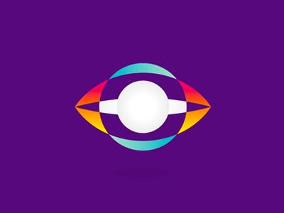 Space watchers eye planet logo design symbol icon