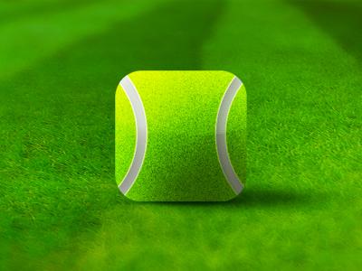 Tennis ball square grass court video app application icon design Alex Tass