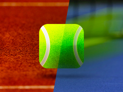 Tennis ball square gravel blue hard court video app application icon design