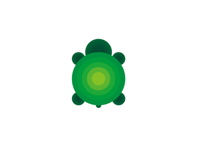 Turtle circles green animal logo design symbol icon mark