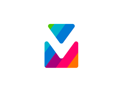 V M via mail double monogram colorful letter mark icon logo design symbol