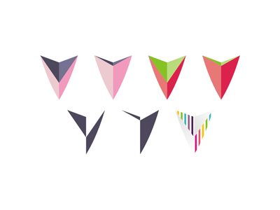 V colorful variations letter mark icon logo design symbol
