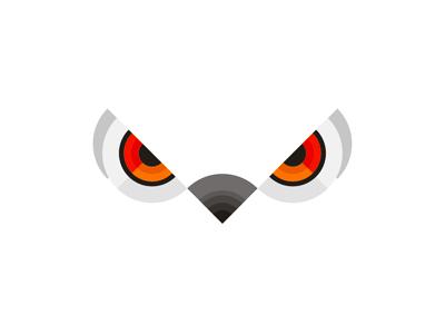 White owl eyes geometric bird logo design symbol