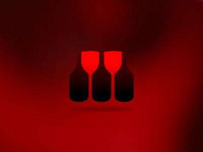 Wine bottles glasses logo design symbol icon