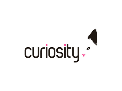 Curiosity cat funny experimental logo design