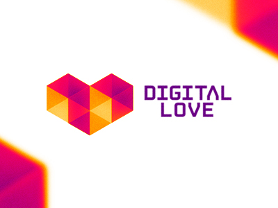 Digital Love geometric heart logo design