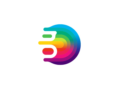 G monogram gravity colorful fluid abstract logo design symbol