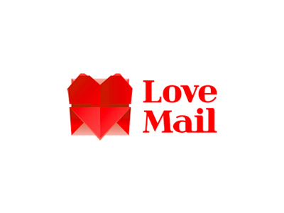Love Mail emails heart envelope logo design