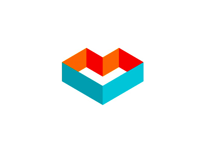 ML, M + L + heart geometric monogram logo design symbol icon
