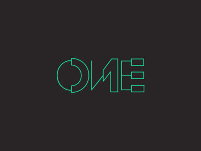 One 1 experimental concept wordmark logotype logo design