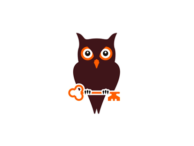 Owl holding key real estate logo design symbol icon