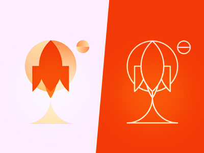 Rockets space planets moon logo design symbol icon