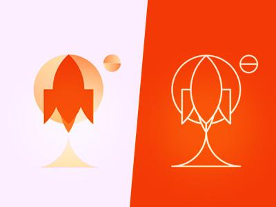 Rockets space planets moon logo design symbol icon