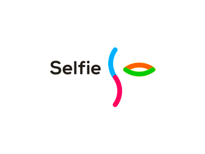 Selfie social network eye profile portrait logo design