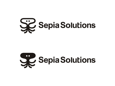 Sepia Solutions VOD video on demand squid sea animals logo design