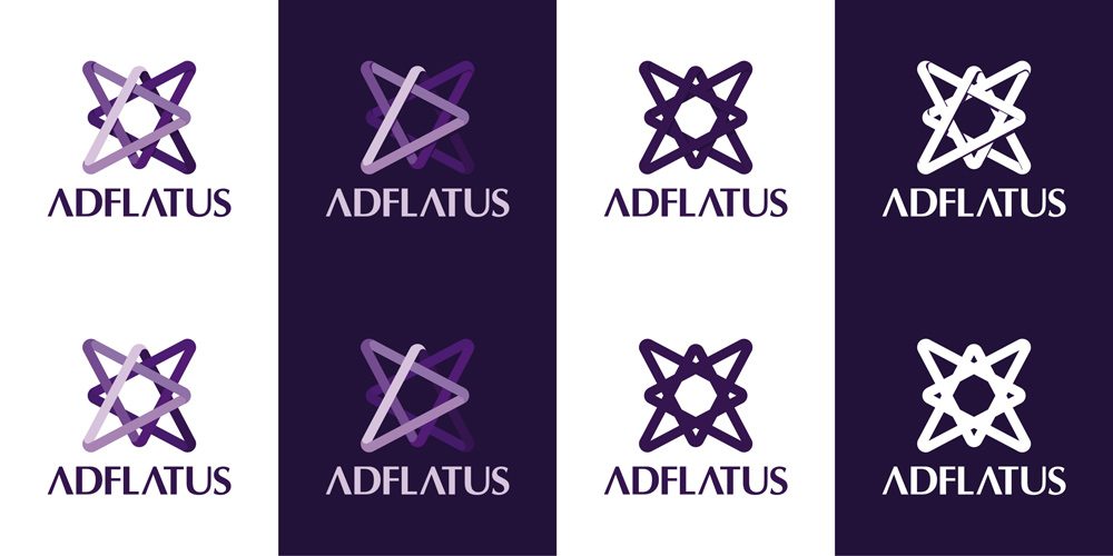 Adflatus interior design studio logo design variations by Alex Tass