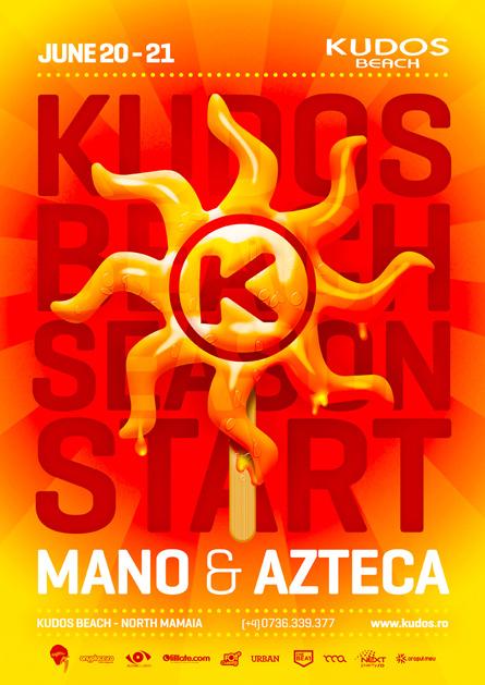 Kudos Beach bar terrace 2014 summer season opening flyer poster design by Alex Tass