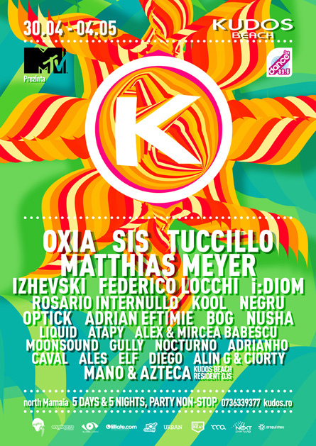 Kudos Beach spring break 1st of may 2014 festival flyer poster design by Alex Tass